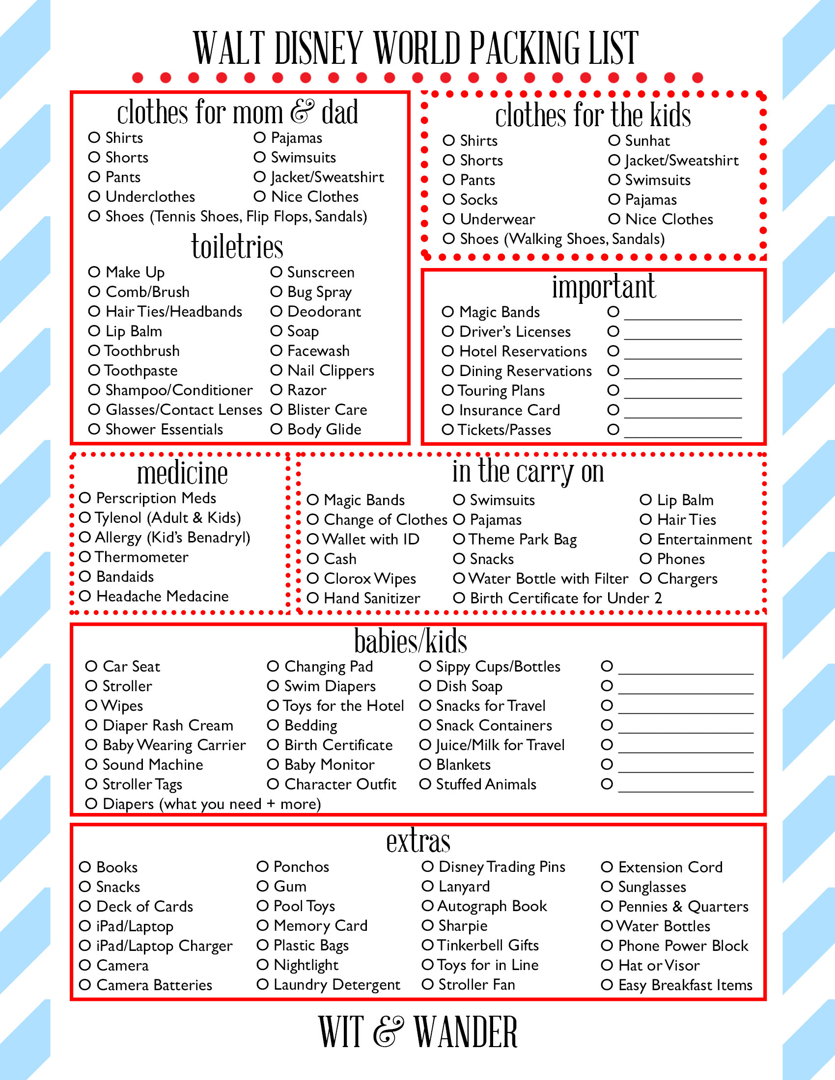 Walt Disney World Free Printables