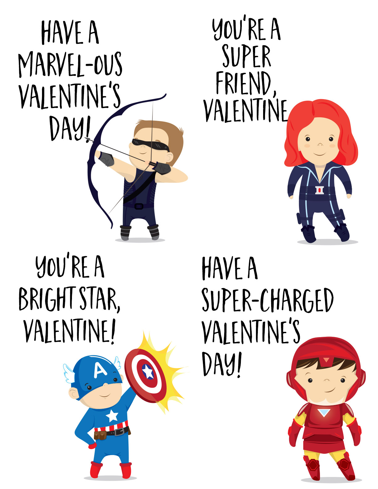 The Avengers Super Hero Valentines Day Cards For Kids
