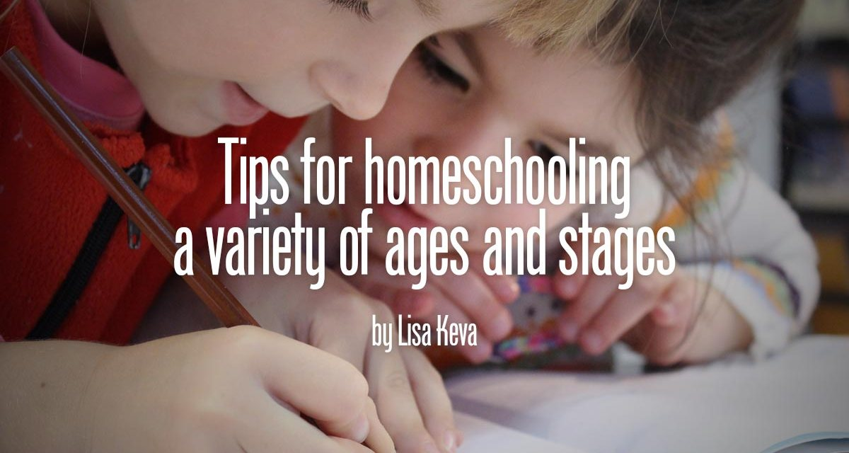 Tips for homeschooling a houseful of children at different ages and stages