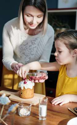 Mothers day 2020 - Girl in Yellow Shirt Holding Brown Cake-min