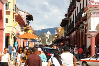 Pedestrian Real de Guadelupe with namesake church in background