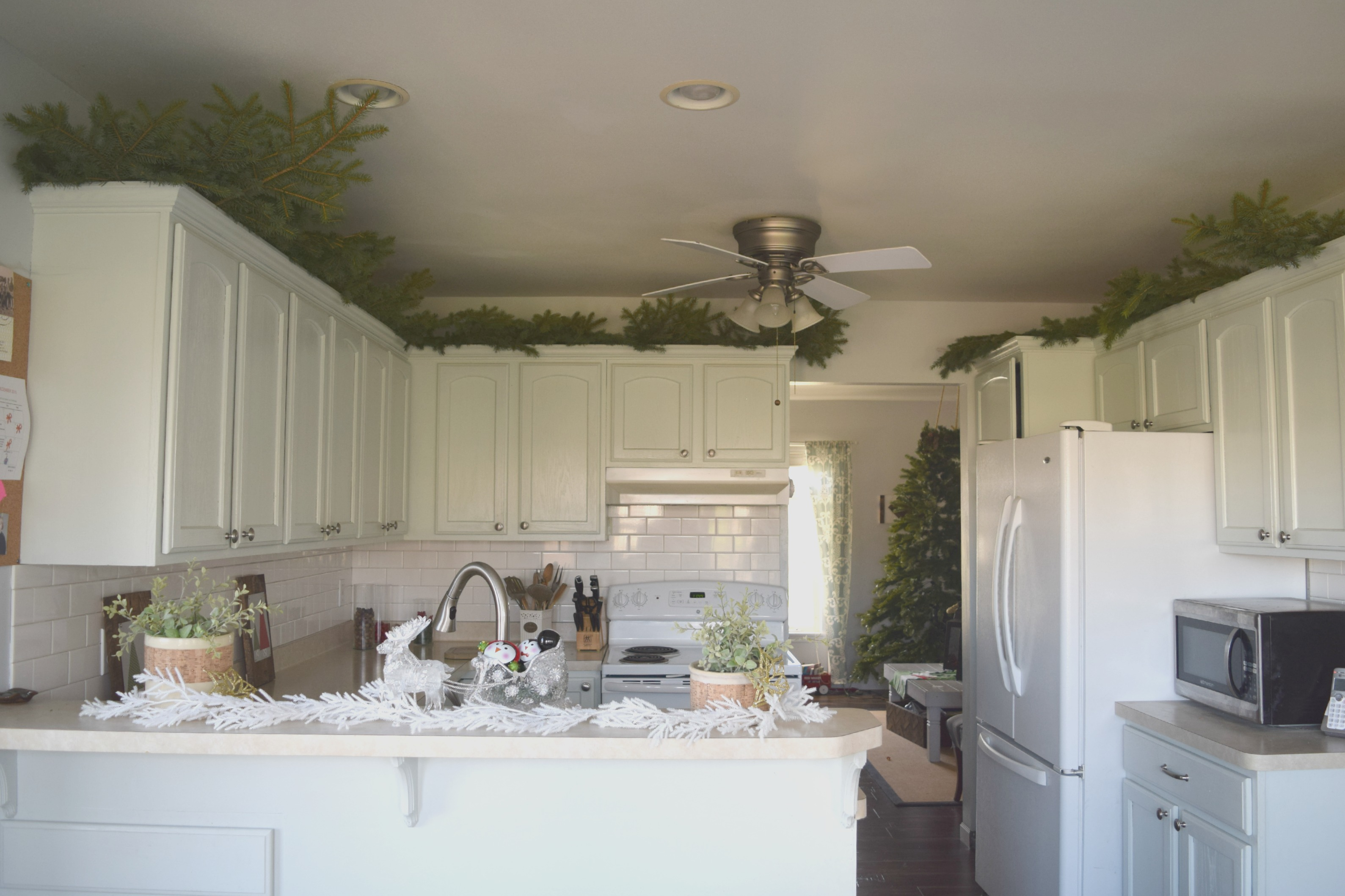 greenery above kitchen cabinets island with casters  our house now a home