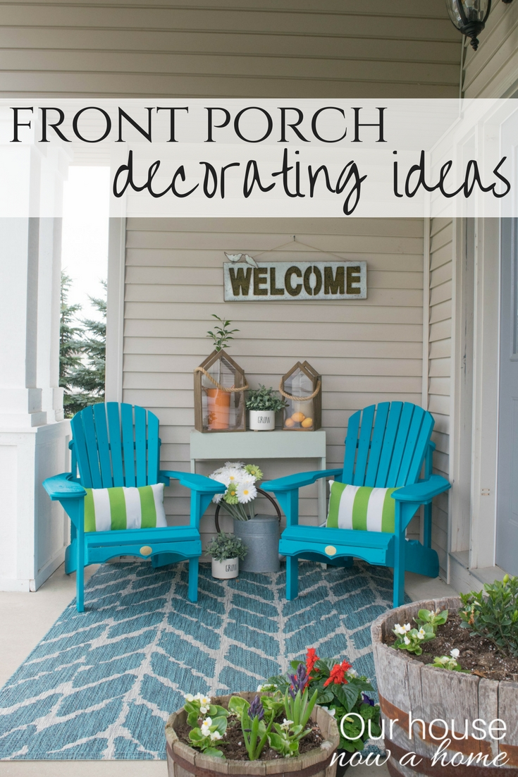 Spring Front Porch Decorating Ideas These Diy Adirondack Chairs Painted A Bold Teal Add The