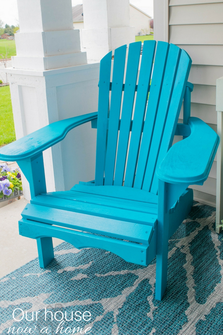 painted adirondack chairs ergonomic chair article front porch decorating ideas with the perfect diy wooden a bold turquoise color great addition