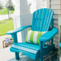 Painted Adirondack Chairs Chair Care Patio Front Porch Decorating Ideas With The Perfect Diy Wooden A Bold Turquoise Color Great Addition