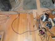 Cutting the old floor to mix in the new