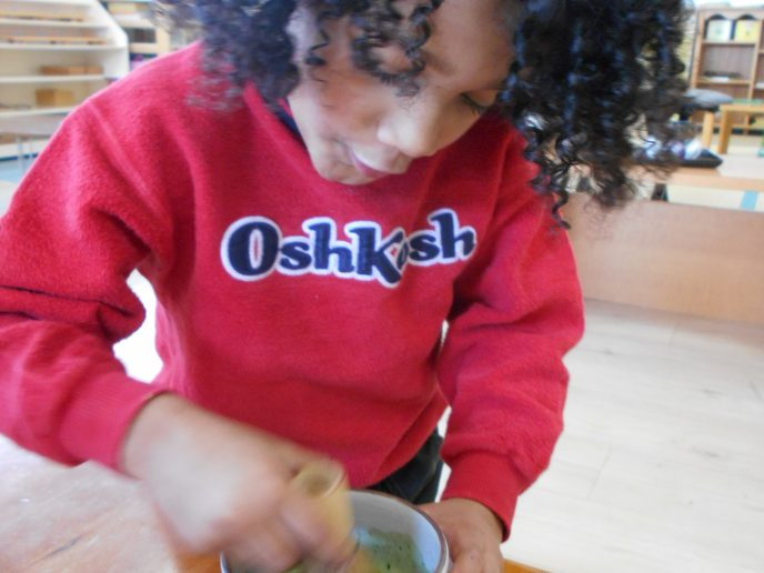 Cooking with children! Our Little Sous Chef whisking up a cup of Matcha