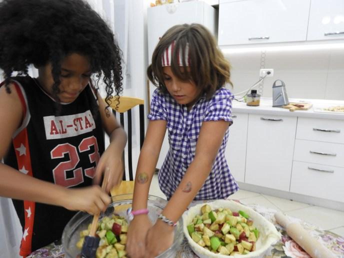 Children Mixing Apples for Pie