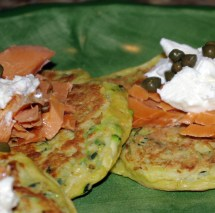 Zucchini Pancakes With Smoked Salmon And Goat Cheese