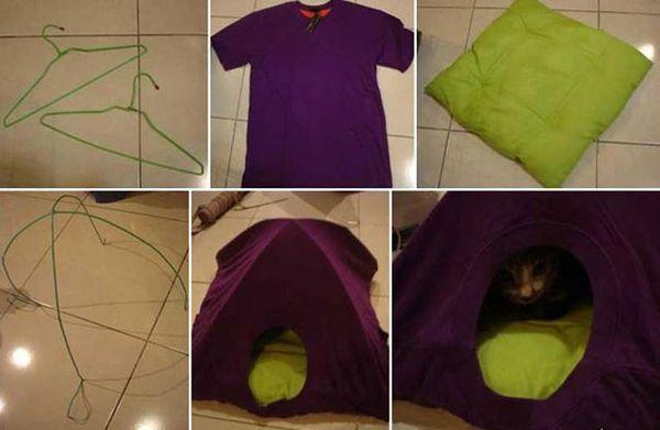 Skema rumah dari T-shirt untuk kucing