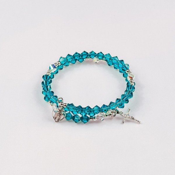 December Blue Zircon Rosary Bracelet