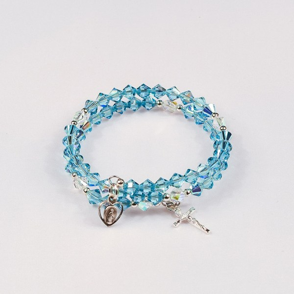 March Aquamarine Rosary Bracelet