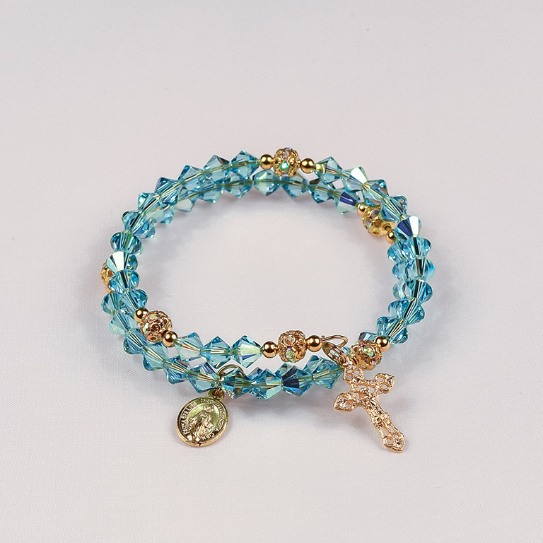 Aquamarine Gold Tone Rosary Bracelet