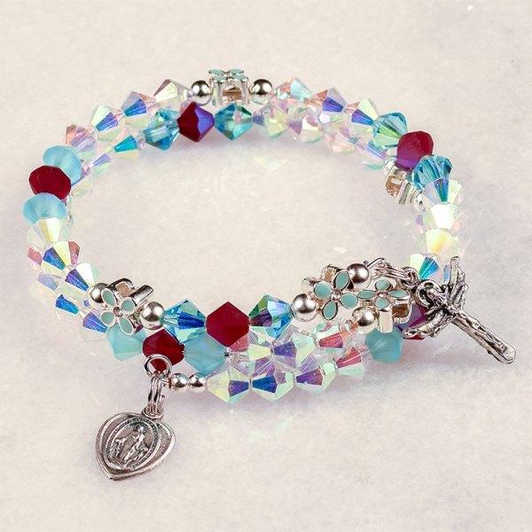 annunciation crystal rosary beads bracelet