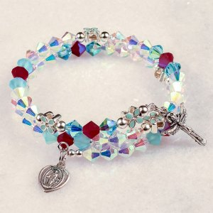 annunciation crystal rosary beads bracelet