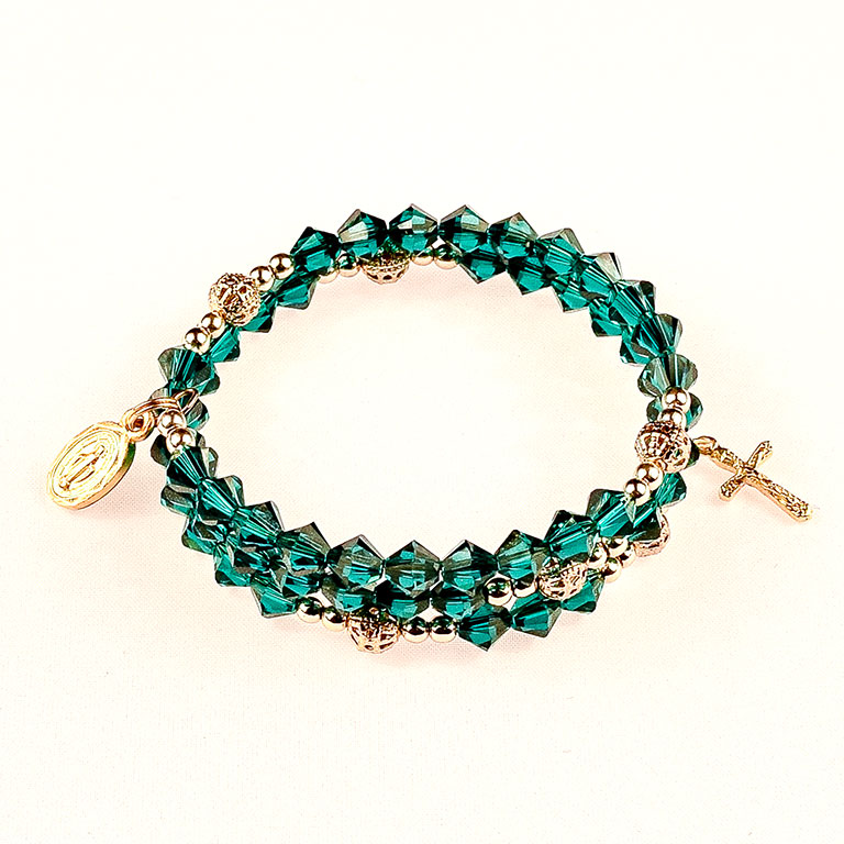 emerald and gold rosary bracelet