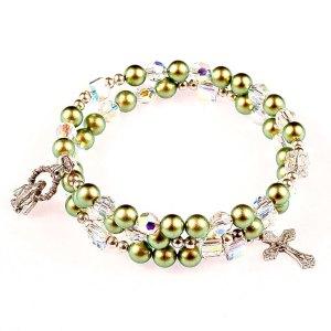 green pearl rosary bracelet