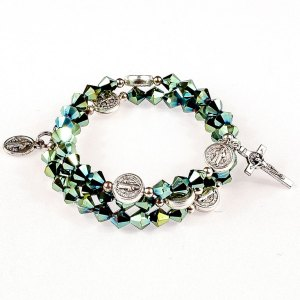 iridescent green crystal rosary bracelet