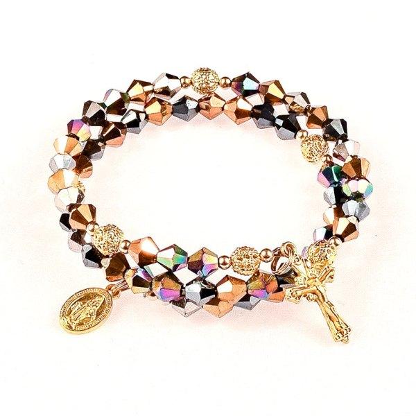 multi metallic glass jeweled rosary bracelet