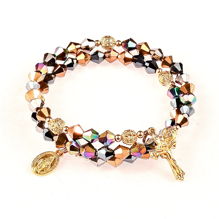 multi metallic glass jeweled rosary bracelet