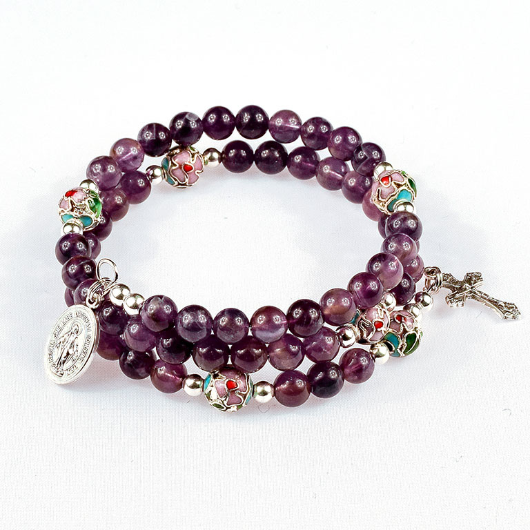 natural amethyst gemstone rosary beads bracelet