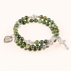 natural gemstone moss agate rosary bracelet