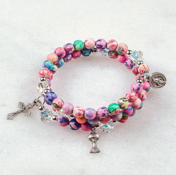 Pretty Petals First Communion Rosary Bracelet