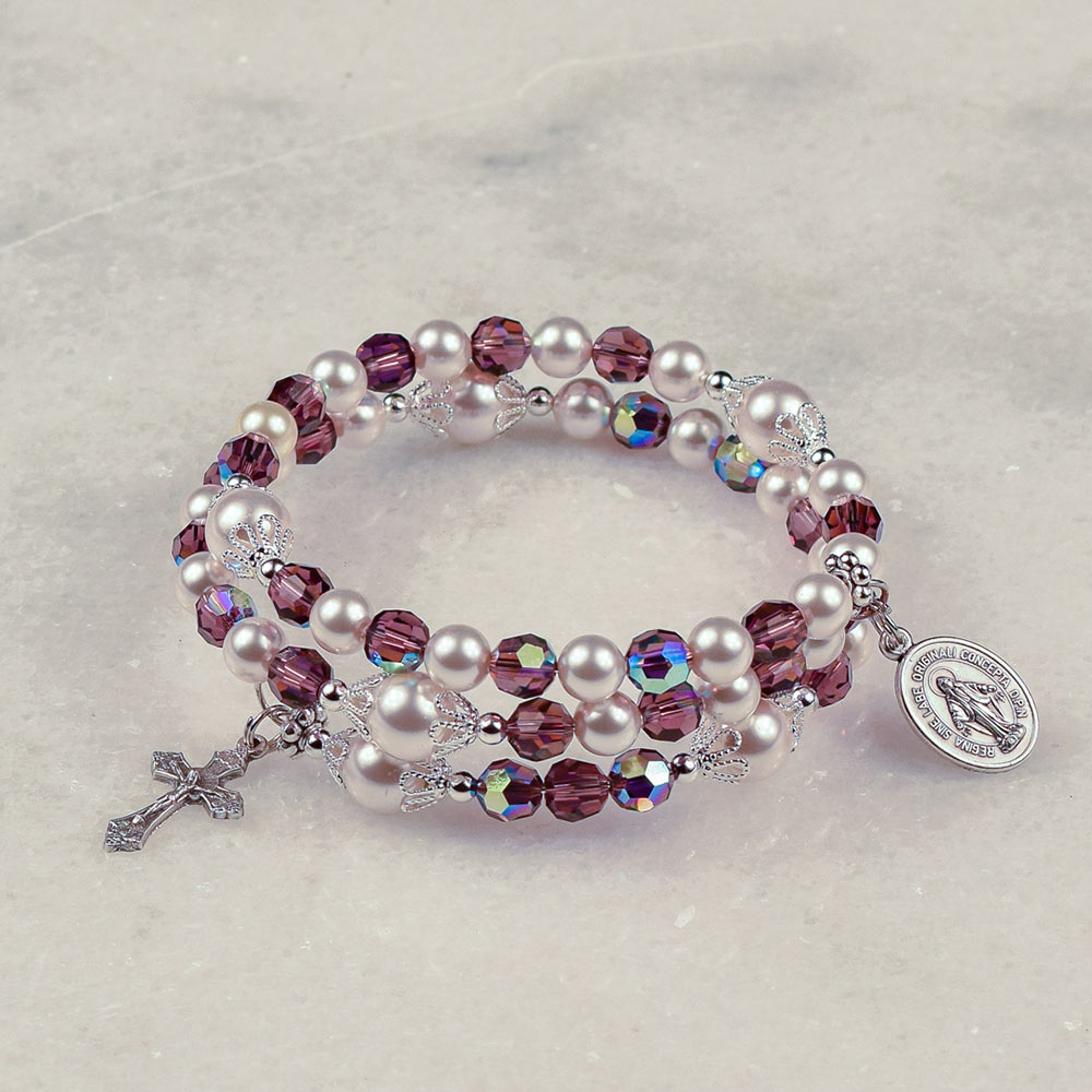 Amethysts and Pearls Rosary Bracelet