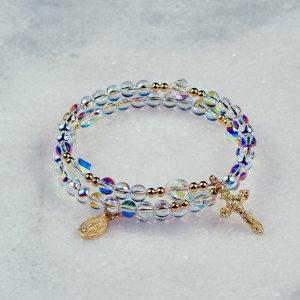 Aurora Borealis Globe Rosary Bracelet