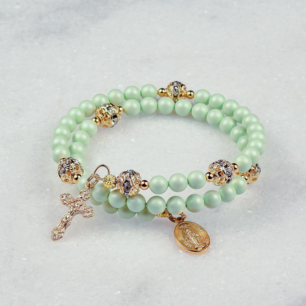 Pastel Green Pearls Rosary Bracelet