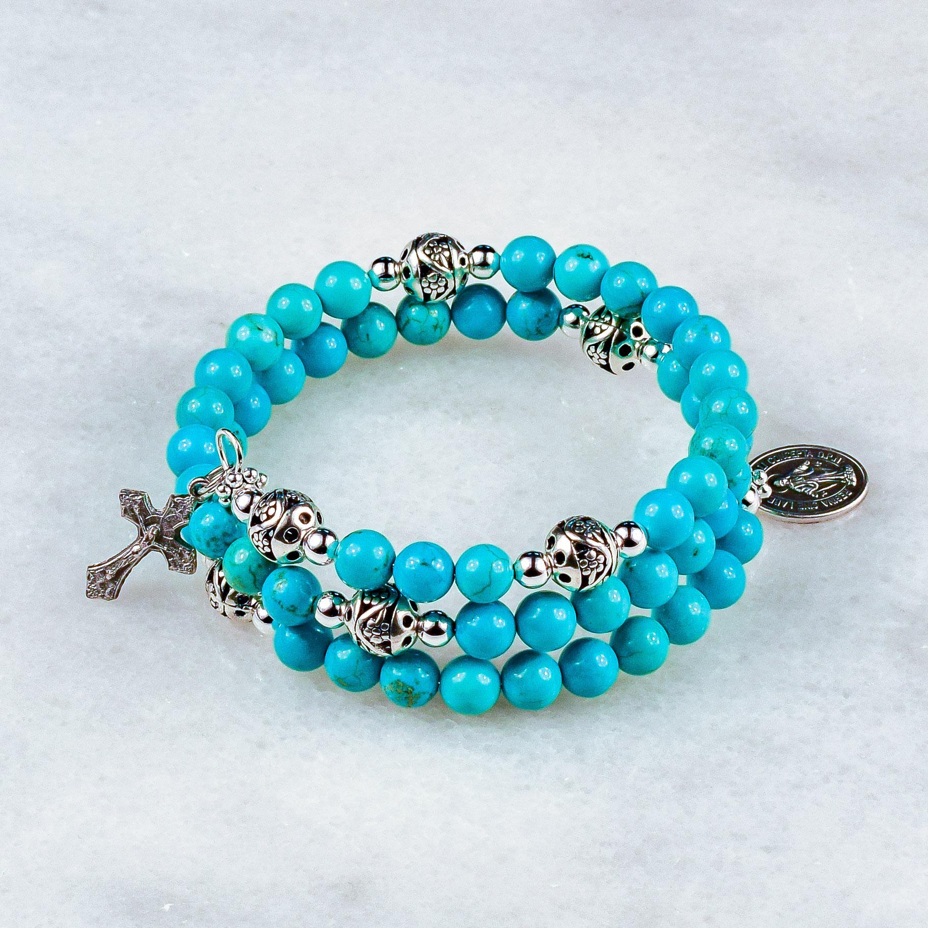 Blue Magnesite Rosary Bracelet