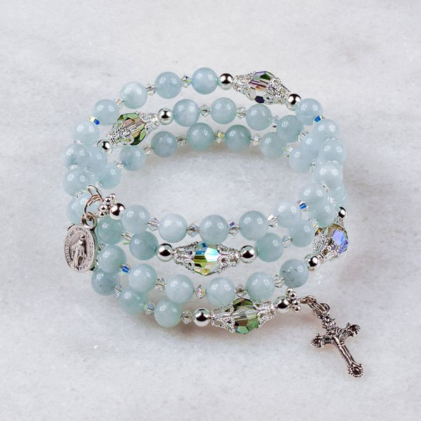 Aquamarine Crystal Rosary Bracelet