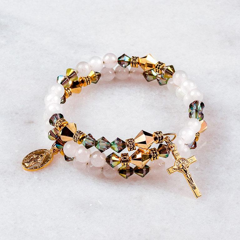 White Quartz Gold Rosary Bracelet