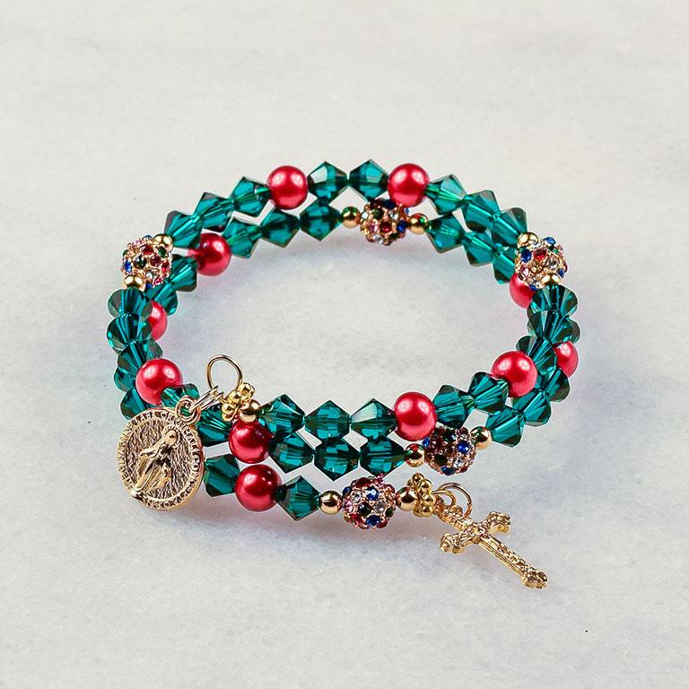 O Christmas Tree Rosary Bracelet