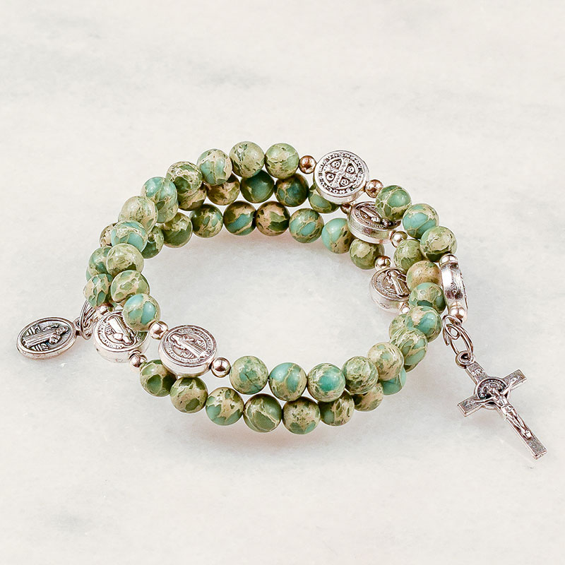 Aqua Terra Jasper St Benedict Rosary Bracelet