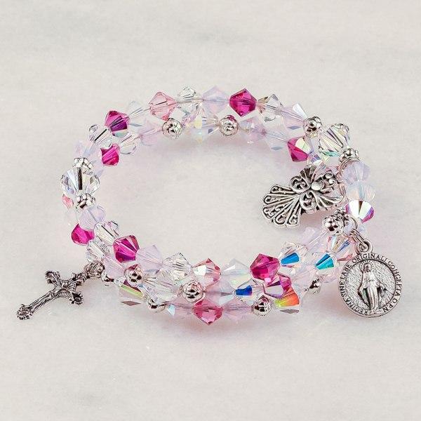 Guardian Angel Rose Rosary Bracelet