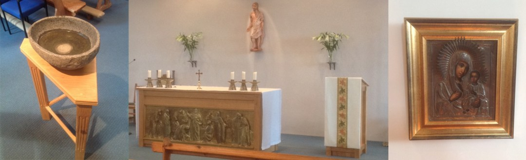 Our Lady's, Stowmarket - font, altar and icon of Our Lady