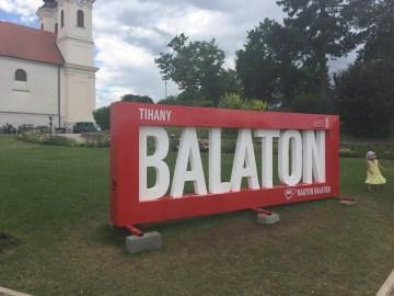 Epic lake Balaton sign in Hungary - our leap of faith European motorhome travel