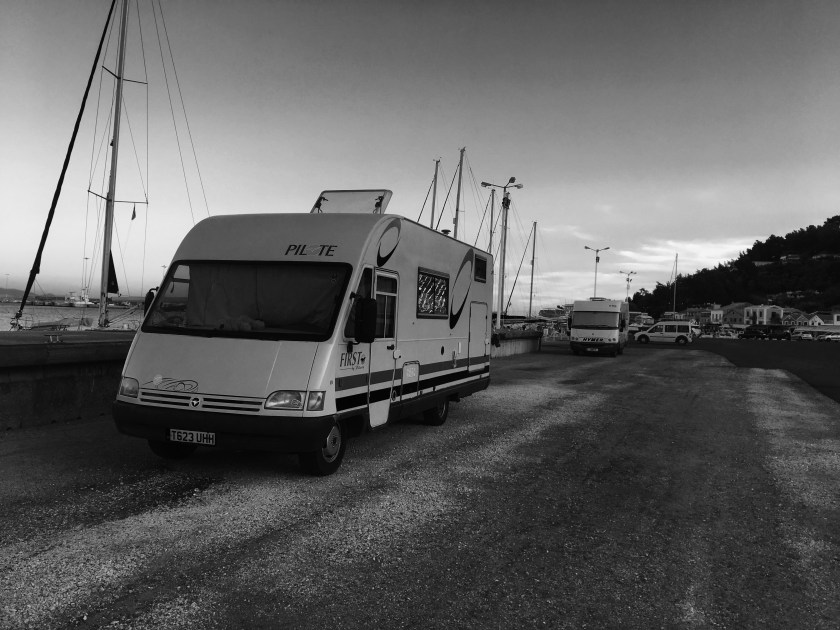 Our motorhome,Paloma harbour side in Greece