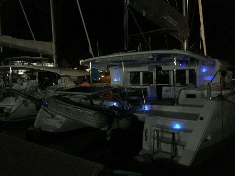 Night time shot of boat in Epidaurus, Greece-