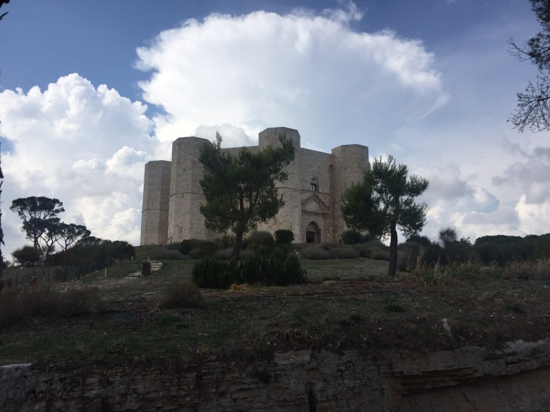Our leap of faith first view of Castel del Monte, Italy