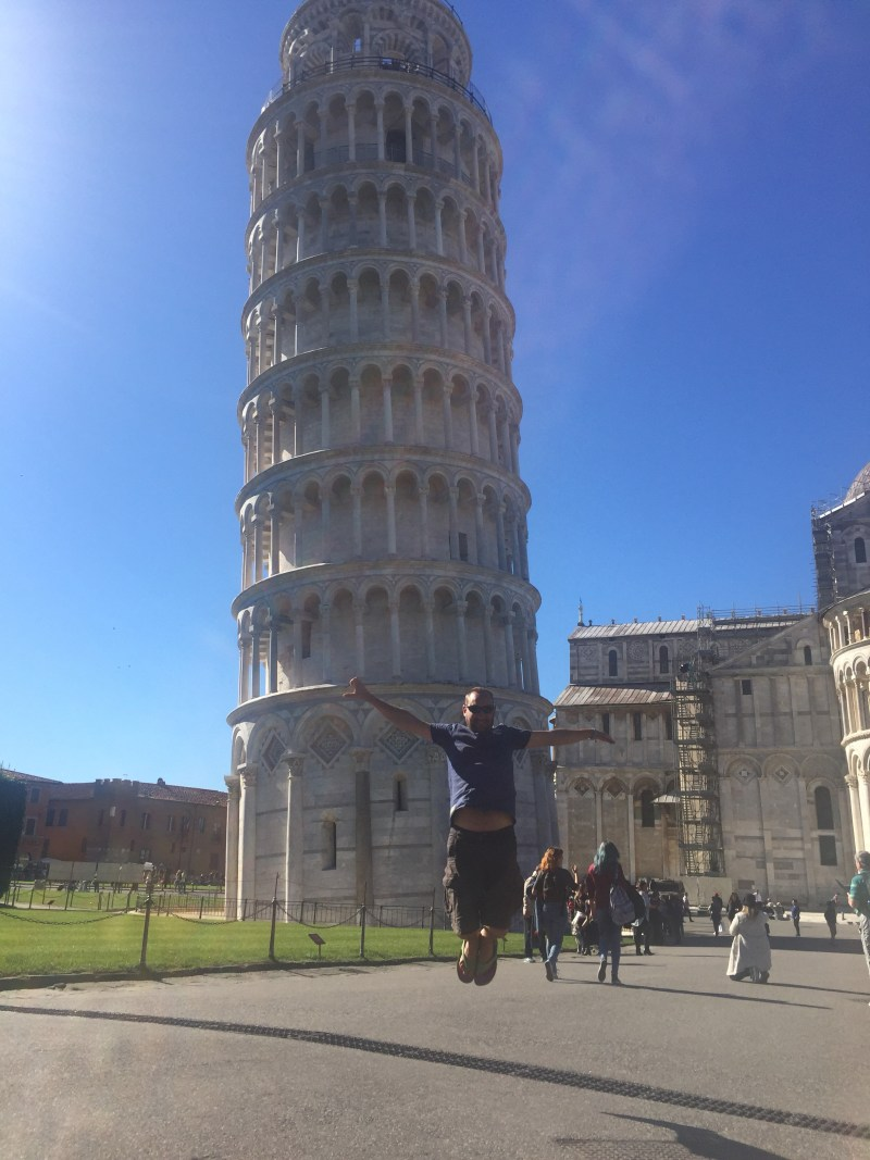 Jumping photo Pisa, Italy by motorhome