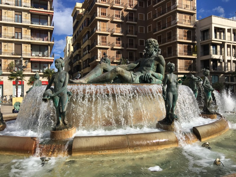 fabulous fountain which represents the irrigation of the Turia River. Part of the ourleapoffaith city walking tour in València, Spain