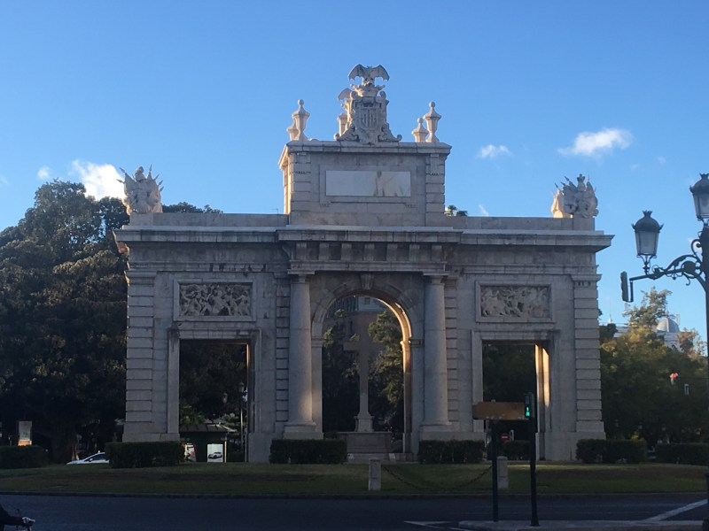 The impressive Puerta de la Mar (Gatway to the Sea) is in Plaza (Placa) Porta de la Mar, 1st stop in motorhome travellers ourleapoffaith walking tour of València, Spain