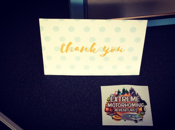 A Sticker from Andy and Michelle at Extreme Motorhome Adventures for our collection ​