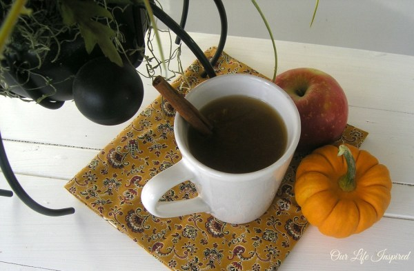 Witches Witches Brew AKA spiced apple cider. This is perfect for fall evening. Easy crock-pot recipe. www.ourlifeinspired.com