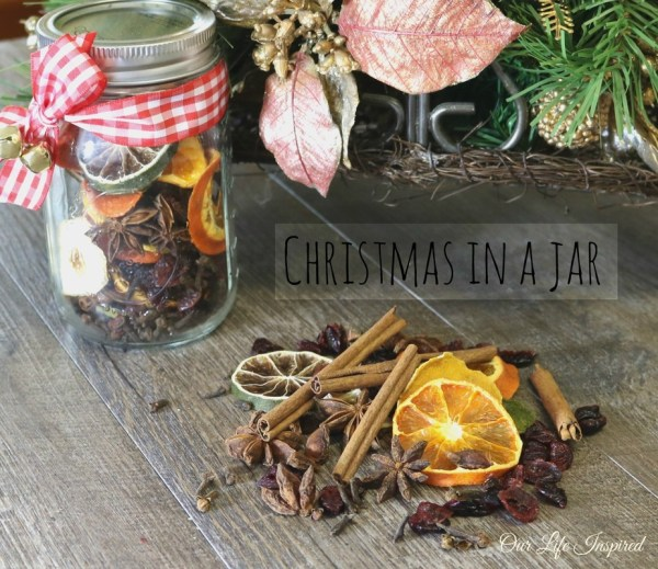 Christmas in a jar. Yummy simmering spices and citrus mix. www.ourlifeinspired.com