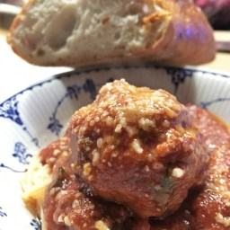 Italian meatballs with red pepper flakes.