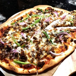 Spicy Onion & Pepper Pizza with Beef.