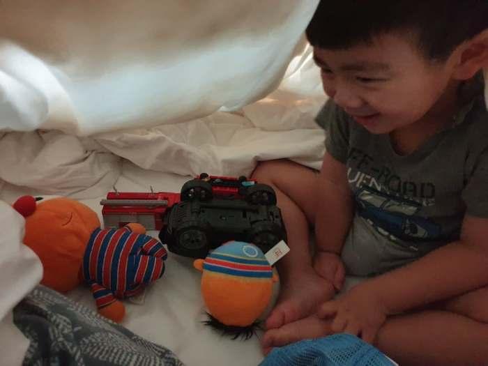 J Boy and Blanket Fort